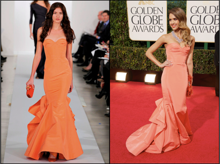 Oscar de la Renta, Golden Globes, Red Carpet, Jessica Alba