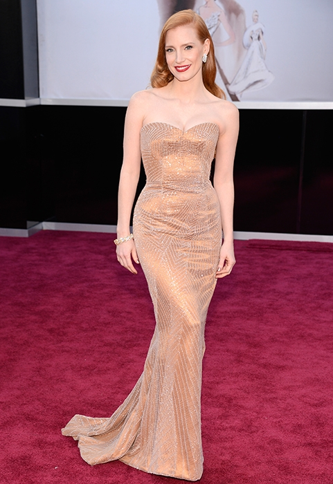 Jessica Chastain, 2013 Academy Awards, Oscars, Red Carpet, Armani Prive